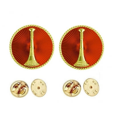 Collar Pins Bugles Disc 1 Bugle Gold Lieutenant Red