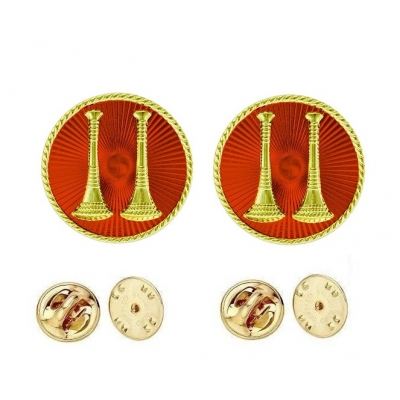 Collar Pins Bugles Disc 2 Bugles Side by Side Captain Gold Red