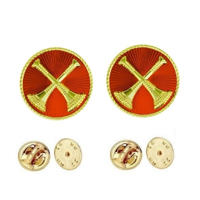 Collar Pins Bugles Disc 2 Bugles Crossed Captain Gold Red