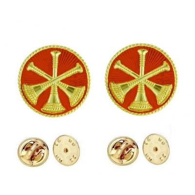 Collar Pins Bugles Disc 3 Bugles Crossed Assistant Chief Gold Red
