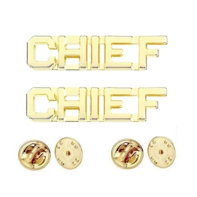Collar Pins Insignia CHIEF Letters Gold