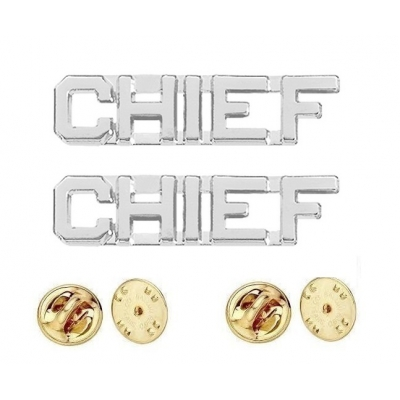 Collar Pins Insignia CHIEF Letters Silver Nickel