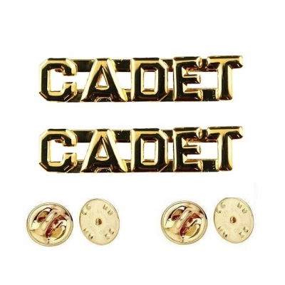 Collar Pins Insignia CADET Letters Gold