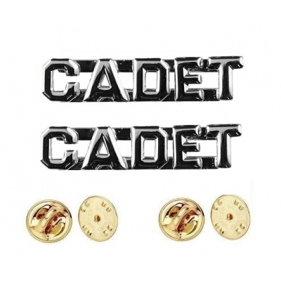Collar Pins Insignia CADET Letters Silver Nickel
