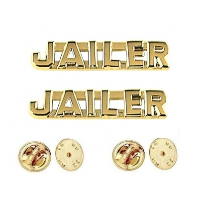 Collar Pins Insignia JAILER Letters Gold