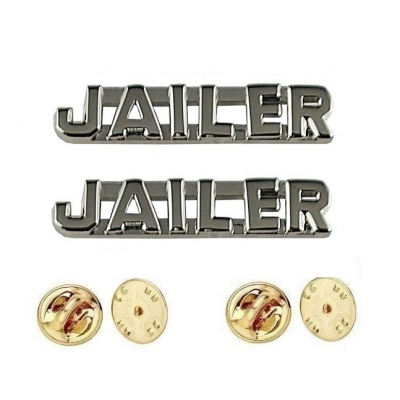 Collar Pins Insignia JAILER Letters Silver Nickel