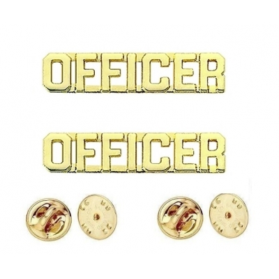 Collar Pins Insignia OFFICER Letters Gold