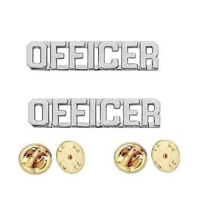 Collar Pins Insignia OFFICER Letters Nickel Silver