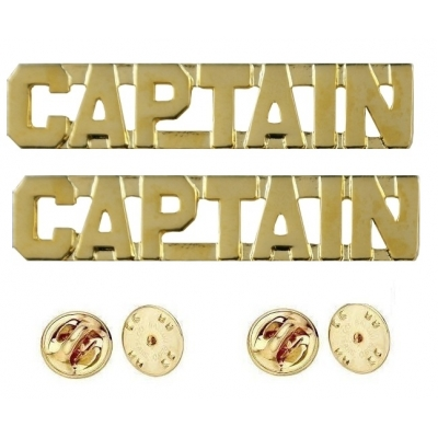 Collar Pins Insignia CAPTAIN Letters Gold