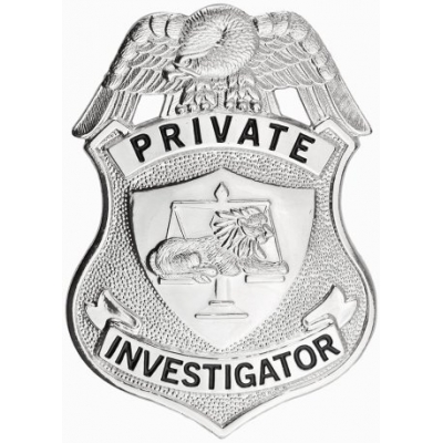 Private Investigator Shield Breast Badge Silver Nickel