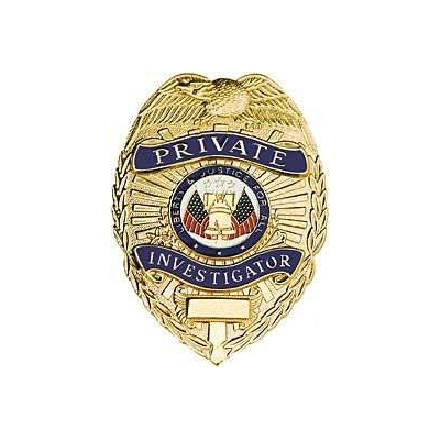 Private Investigator Shield Breast Badge Gold