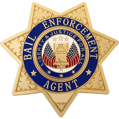 Bail Enforcement Agent 7-Point Star Breast Badge Gold