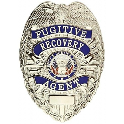 Fugitive Recovery Agent Shield Badge Nickel Silver