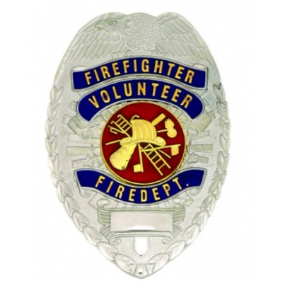 Volunteer Firefighter Fire Department Shield Badge Nickel Silver