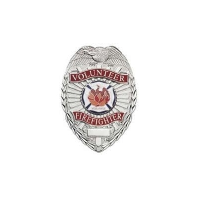 Volunteer Firefighter Shield Badge Nickel Silver