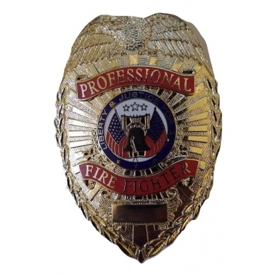 Professional Firefighter Shield Badge Gold