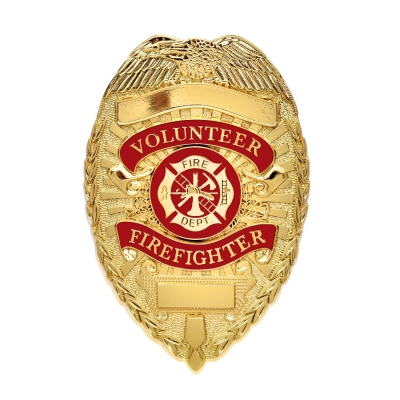 Volunteer Firefighter Fire Dept Shield Badge Gold