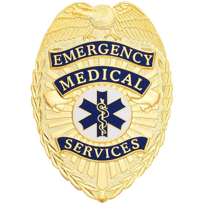 Emergency Medical Services EMS Shield Badge Gold