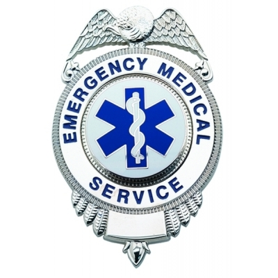 Emergency Medical Service EMS Shield Badge Nickel Silver