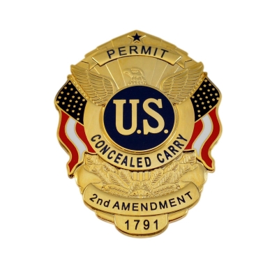 CCW Carry Concealed Weapon Permit Shield Badge Gold USA