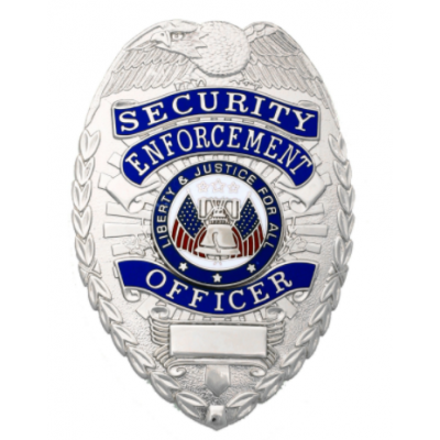 Security Enforcement Officer Shield Breast Badge Silver