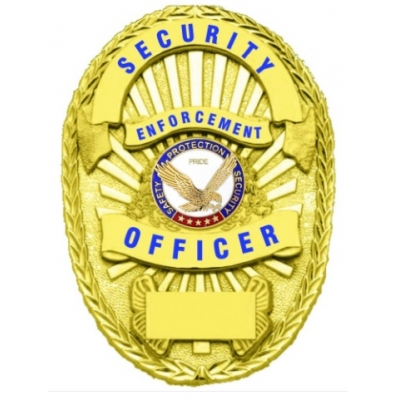 Security Enforcement Officer Shield Oval Badge Gold