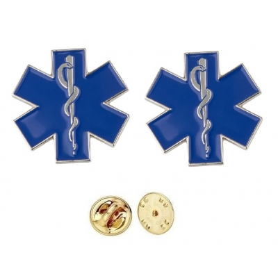 Star of Life Pin Silver Collar Brass Insignia Pair