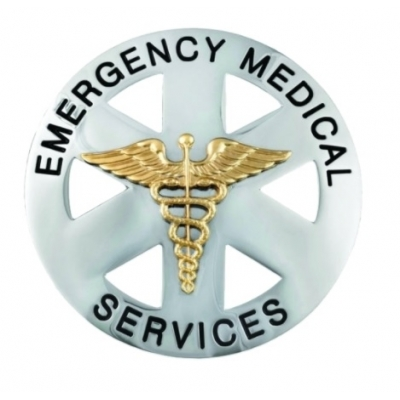 Emergency Medical Service Circle Breast Badge Silver