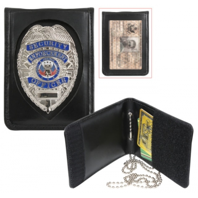 Leather Neck ID Badge Holder Shield Cut Out Bi Fold