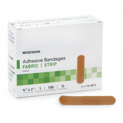Adhesive Strip 3/4 X 3 Inch Fabric Rectangle Tan Sterile 100 Pack