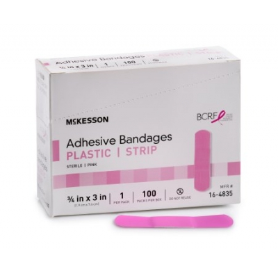 Adhesive Strip 3/4 X 3 Inch Plastic Pink Sterile Cancer 100 pk
