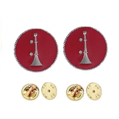 Collar Pins Bugles Disc 1 Bugle Silver Lieutenant Red