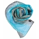 Turquoise and Black Long Silk Scarf S