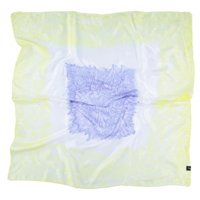 Royal Blue and Yellow Square Silk Scarf L