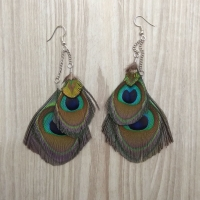 Double Peacock Feather Earrings