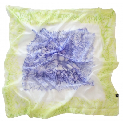 Royal Blue and Lime Square Silk Scarf L