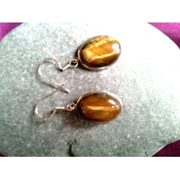 Tiger's Eye Cabachon Earring..