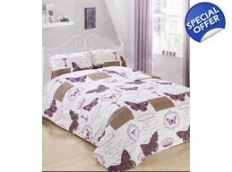 PURPLE SINGLE BUTTERFLY DUVET SET
