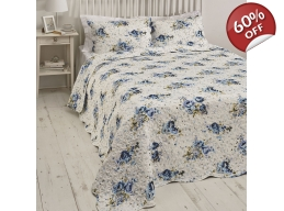 BLUE ROSE DOUBLE BEDSPREAD & PILLOWSHAMS