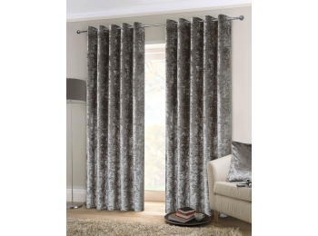 CRUSHED VELVET SILVER CURTAINS & CUSHIONS