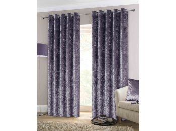 CRUSHED VELVET AMETHYST CURTAINS & CUSHIONS