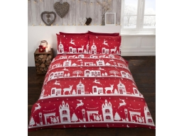 REINDEER ROAD RED BRUSHED COTTON KINGSIZE