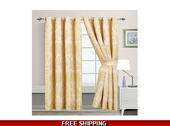 "SANDRA CREAM 66""x72"" RINGTOP CURTAINS"