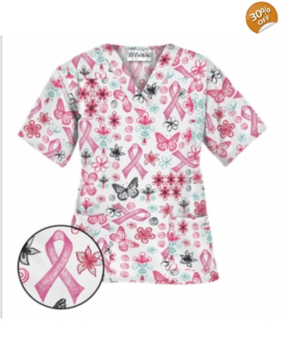 UA Celebrate Pink White Scrub Top