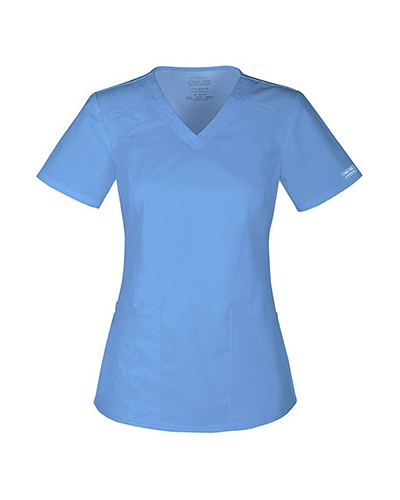 Core Stretch by Cherokee Workwear Women's V-Neck Solid Scrub Top