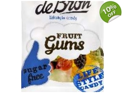 De Bron Sugar Free Fruit Gums Sweets 100g Bag