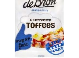 De Bron Sugar Free Fruit Juice Toffees Sweets 90g Bag