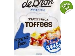 De Bron Sugar Free Fruit Juice Toffees Sweets 90..