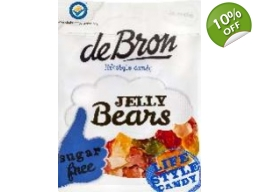 De Bron Sugar Free Gummy Jelly Teddies Bears Sweets 90g Bag