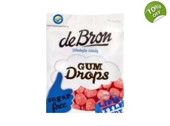 De Bron Sugar Free Raspberry Gum Drops Sweets 100g Bag